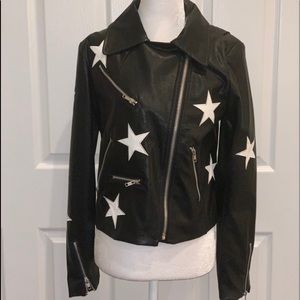 Faux black leather bomber jacket with stars size L